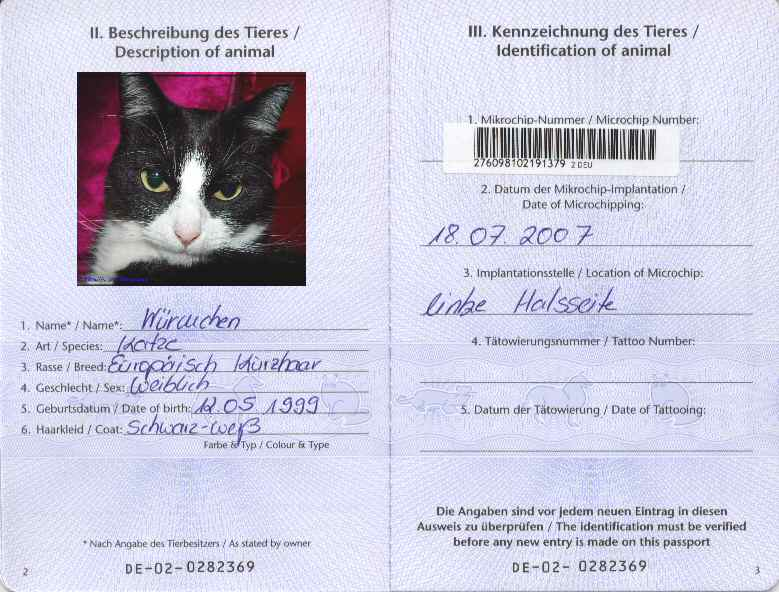 Cat Pet Passport